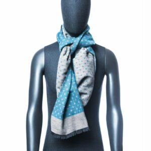 Lichtblauwe met stippen sjaal heren