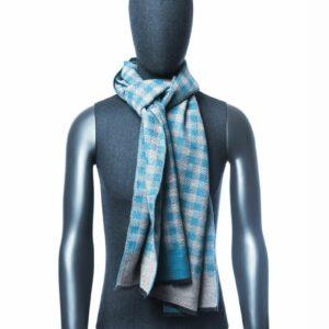 Lichtblauwe ruiten sjaal heren